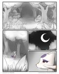 ambiguous_gender comic darkmirage fur hi_res mienshao moon night nintendo outside pokémon pokémon_(species) red_eyes redoxx solo video_games white_fur