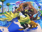 2016 absurd_res animate_inanimate anthro avian beak bird brown_fur chest_tuft clothed clothing detailed_background digital_drawing_(artwork) digital_media_(artwork) duck duo eyewear firr flippers fur hair hi_res inflatable lifeguard living_inflatable male mammal mustelid nozzle open_mouth otter outside pool_toy rubber shiny shorts skunk smile stripes- surprise swim_ring swimming_pool swimsuit toes topless torn_clothing transformation tree tuft water water_slide white_fur white_hair wings