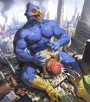 anthro avian bird building_penetration city cum cum_on_ground erection eyes_closed falco_lombardi high-angle_view jiandou macro male muscular muscular_male nintendo orgasm penis star_fox video_games