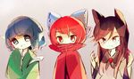3girls animal_ears banned_artist blue_eyes blue_hair bow brown_hair covered_mouth fang_out green_kimono hair_bow head_fins imaizumi_kagerou japanese_clothes kimono lineup long_hair looking_at_viewer multiple_girls nail_polish red_eyes red_hair red_nails sekibanki sleeves_past_wrists touhou towako_(10wk0) upper_body wakasagihime wide_sleeves wolf_ears