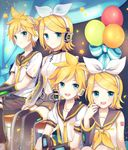 2boys 2girls akiyoshi_(tama-pete) aqua_eyes balloon blonde_hair blue_eyes brother_and_sister detached_sleeves dual_persona hair_ornament hair_ribbon hairclip headgear headphones kagamine_len kagamine_rin looking_at_viewer multiple_boys multiple_girls neck_ribbon necktie open_mouth ribbon sailor_collar short_hair short_ponytail shorts siblings sitting sleeveless smile tattoo twins vocaloid
