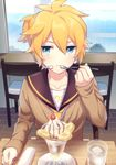 1boy akiyoshi_(tama-pete) aqua_eyes blonde_hair blue_eyes food glass headgear headphones ice_cream kagamine_len looking_at_viewer pout sailor_collar short_hair short_ponytail sitting solo spoon sweater sweets table vocaloid