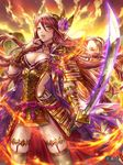1girl armor bangs box_(hotpppink) breasts brown_belt brown_hair brown_legwear cleavage cloud cloudy_sky coat collarbone commentary_request company_name evening eyebrows_visible_through_hair finger_to_mouth fire floating_hair floral_print flower gem glowing glowing_sword glowing_weapon gold_armor gradient_sky hair_between_eyes hair_flower hair_ornament high_collar highres holding holding_sword holding_weapon horned_headwear japanese_armor jewelry katana kusazuri legs_apart long_hair looking_at_viewer medium_breasts nail_polish official_art open_clothes open_coat orange_eyes orange_sky outdoors parted_lips pendant pink_flower pink_nails pink_ribbon print_coat purple_coat pyrokinesis ribbon ring rope sengoku_kishin_valkyrie shimenawa shiny shiny_skin sky sleeveless_coat smile sode solo standing sunset swept_bangs sword tassel thigh_strap thighhighs tiara vambraces very_long_hair weapon wind winged_headwear yellow_sky