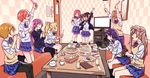 >_< 6+girls :d ;d arms_up ayase_eli black_hair black_legwear blonde_hair blue_hair bow box brown_hair cake cardigan_vest checkered_wall cheering chopsticks couch cup door drinking_glass food glowstick hair_bow highres holding holding_drinking_glass hoshizora_rin indoors instrument karaoke kneehighs kneeling koizumi_hanayo kousaka_honoka long_hair looking_at_another love_live! love_live!_school_idol_project megumegu_hosi_117 minami_kotori multiple_girls music nishikino_maki one_eye_closed one_side_up open_mouth orange_hair otonokizaka_school_uniform pizza plate pleated_skirt ponytail purple_hair red_hair rice rice_bowl school_uniform short_hair singing sitting skirt smile sonoda_umi sweatdrop table tambourine television thighhighs toujou_nozomi twintails yazawa_nico