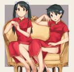 2girls black_eyes black_footwear black_hair china_dress chinese_clothes couch dress hands_clasped high_heels kantai_collection long_hair looking_at_viewer makio_(makiomeigenbot) mikuma_(kantai_collection) mogami_(kantai_collection) multiple_girls own_hands_together red_dress short_hair sitting smile twintails
