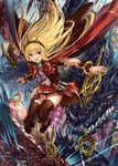 1girl :d bangs black_legwear blonde_hair book boots bow bracer breasts cagliostro_(granblue_fantasy) cape dragon fang_xue_jun granblue_fantasy hairband jumping long_hair looking_at_viewer open_mouth ouroboros_(granblue_fantasy) purple_eyes red_skirt skirt small_breasts smile solo spikes thighhighs tiara