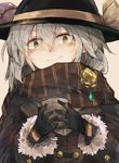 1girl alternate_costume black_gloves black_hat closed_mouth cup emerald flower fur_trim gloves green_eyes hair_between_eyes hat hat_ribbon holding holding_cup jacket komeiji_koishi long_sleeves looking_at_viewer ribbon rose scarf silver_hair smile solo third_eye touhou upper_body yellow_flower yellow_ribbon yellow_rose zairen