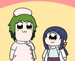 2girls :3 bangs bkub_(style) blue_hair blue_shirt blush character_request chibi closed_mouth commentary_request dot_nose eyebrows_visible_through_hair green_eyes green_hair hat hitomi_sensei_no_hokenshitsu labcoat long_sleeves manaka_hitomi multiple_girls nurse nurse_cap parody pink_eyes ponytail poptepipic purple_skirt shake-o shirt skirt standing