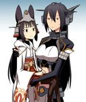 2girls animal_ears bangs birii blunt_bangs brown_eyes brown_hair character_request collar commentary_request copyright_request elbow_gloves girdle gloves gradient gradient_background hair_between_eyes headgear jacket japanese_clothes kantai_collection lifting_person long_hair long_sleeves midriff miko multiple_girls nagato_(kantai_collection) partly_fingerless_gloves remodel_(kantai_collection) size_difference wide_sleeves