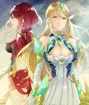 2girls armor artist_request blonde_hair breasts cleavage dress fingerless_gloves gloves hikari_(xenoblade_2) homura_(xenoblade_2) jewelry large_breasts long_hair looking_at_viewer multiple_girls red_hair short_hair sidelocks tiara xenoblade xenoblade_2 yellow_eyes