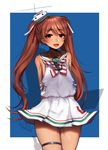 1girl :d absurdres anchor arms_behind_back artist_name bare_shoulders blush brown_eyes brown_hair commentary cowboy_shot dark_skin dress eyebrows_visible_through_hair fang hair_ornament hair_ribbon highres kantai_collection libeccio_(kantai_collection) long_hair looking_at_viewer open_mouth ribbon sailor_dress simple_background smile solo teru_(renkyu) thigh_strap thighs twintails twitter_username very_long_hair white_dress