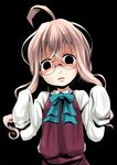 1girl ahoge black_eyes commentary_request dress dress_shirt empty_eyes glasses kantai_collection kurona long_hair makigumo_(kantai_collection) open_mouth pink_hair red_dress shirt sleeves_past_wrists solo