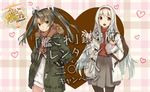 2girls alternate_costume bag green_hair hair_ribbon hands_in_pockets jacket kantai_collection konishi_(koconatu) lawson long_hair looking_at_viewer multiple_girls official_art orange_eyes ribbon scarf shoukaku_(kantai_collection) smug twintails white_hair yellow_eyes zuikaku_(kantai_collection)