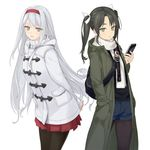 2girls alternate_costume arms_behind_back artist_name black_legwear casual cellphone coat dated fashion green_eyes green_hair hair_ribbon hairband hand_in_pocket kantai_collection leaning_forward legwear_under_shorts long_hair looking_at_viewer multiple_girls pantyhose phone pleated_skirt ribbon rokuwata_tomoe shorts shoukaku_(kantai_collection) signature silver_hair simple_background skirt smartphone standing toggles trench_coat turtleneck twintails twitter_username white_background winter_clothes winter_coat yellow_eyes zuikaku_(kantai_collection)