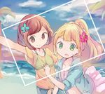 2girls bikini_top blonde_hair blue_flower blue_sky braid brown_eyes brown_hair cloud flower french_braid green_eyes hair_flower hair_ornament hand_on_another's_back high_ponytail huwatannpopo leaf lillie_(pokemon) looking_at_viewer mizuki_(pokemon_sm) multiple_girls navel ocean open_mouth pink_flower pokemon pokemon_(game) pokemon_sm ponytail see-through self_shot shirt short_sleeves sky smile striped_bikini_top sweat tied_shirt tree water yellow_shirt