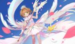 brown_hair card_captor_sakura gloves green_eyes heihei kero kinomoto_sakura petals short_hair wings