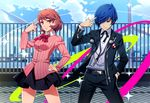 1boy 1girl blue_eyes blue_hair brown_eyes brown_hair cardigan choker dancing digital_media_player finger_to_head hair_over_one_eye hand_in_pocket hand_on_hip headphones headphones_removed nyoronyoro persona persona_3 persona_3:_dancing_moon_night persona_dancing rooftop school_uniform skirt takeba_yukari wind_turbine windmill yuuki_makoto