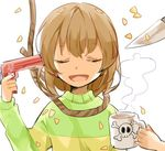 androgynous brown_hair chara_(undertale) commentary_request cup eyes_closed gun gun_to_head knife misha_(hoongju) mug noose open_mouth petals poison smile striped suicide undertale weapon