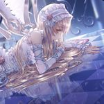 1girl angel angel_wings bangs bare_shoulders blonde_hair cecil86 cropped detached_sleeves eyebrows_visible_through_hair hairband highres lolita_hairband long_hair looking_at_viewer lying on_stomach original profile reflection sleeveless solo wings yellow_eyes