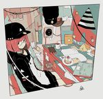 1girl bob_cut cable cake computer cup daisukerichard food fruit glasses hat headphones hood hoodie laptop looking_at_viewer nintendo_switch original paper polaroid pyramid short_hair siting solo strawberry table triangle