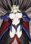 1girl artist_request artoria_pendragon_(all) artoria_pendragon_(lancer_alter) bangs black_gloves black_legwear blonde_hair braid breasts cape dark_persona fate/grand_order fate_(series) french_braid gauntlets gloves gradient gradient_background headgear highleg highleg_leotard horns huge_breasts leotard leotard_pull looking_at_viewer mature midriff navel open_mouth outdoors parted_lips pauldrons pulled_by_self sky solo star stomach tareme teeth thighhighs tied_hair underboob yellow_eyes