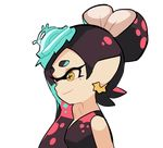 +_+ 2girls alternate_hairstyle animated animated_gif aori_(splatoon) black_dress black_hair brown_eyes closed_mouth commentary domino_mask dress earrings eyebrows_visible_through_hair fangs food food_on_head frilled_shirt frills green_hair grin hotaru_(splatoon) jewelry looking_at_viewer mask mole mole_under_eye multicolored_hair multiple_girls object_on_head open_mouth pointy_ears portrait salute shirt simple_background sleeveless sleeveless_shirt smile splatoon two-finger_salute white_background white_shirt wong_ying_chee