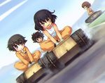 4girls :o arm_support black_footwear black_hair blue_eyes blurry blurry_background brown_eyes brown_hair commentary_request dark_skin day dust_cloud dutch_angle explosive eyebrows_visible_through_hair frown girls_und_panzer gloves goliath_tracked_mine green_eyes hoshino_(girls_und_panzer) indian_style jumpsuit long_sleeves looking_at_another looking_at_viewer mechanic messy_hair mine_(weapon) multiple_girls nakajima_(girls_und_panzer) open_mouth orange_jumpsuit outdoors riding road sankuma shirt shirt_pull shoes short_hair sitting sky smile standing suzuki_(girls_und_panzer) tank_top tied_shirt tsuchiya_(girls_und_panzer) v-shaped_eyebrows v_arms white_gloves white_shirt
