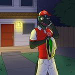 anthro baseball_cap black_body blue_hair briefs building cellphone clothed clothing cute_fangs delivery door fence fully_clothed fuze green_eyes hair hat hi_res holding_clothing holding_object holding_phone house light male night open_mouth outside pants phone reptile scalie shirt shorts sky snake solo star starry_sky story story_in_description tighty_whities tongue tree underwear underwear_souvenir uniform uvula white_underwear yard