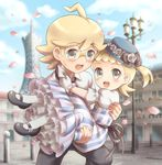 1boy 1girl asymmetrical_hair blonde_hair blue_sky blush brother_and_sister building carrying child citron_(pokemon) cloud collared_shirt cowboy_shot day dress eureka_(pokemon) eyebrows_visible_through_hair flower full_body glasses gloves hat looking_at_viewer no_nose open_mouth outdoors petals pokemon pokemon_(anime) pokemon_xy pokemon_xy_(anime) porocha ribbon shirt shoes short_sleeves siblings sky sweatdrop vertical-striped_dress