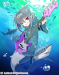 1girl bass_guitar blonde_hair bubble cardfight!!_vanguard company_name facial_mark fang fish grey_hair hood hood_down instrument invite_roaring_inray mermaid miyoshino monster_girl multicolored_hair official_art one_eye_closed pink_eyes shark short_hair solo teeth two-tone_hair underwater