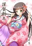 1girl :d bangs blunt_bangs breasts brown_hair commentary_request eyebrows_visible_through_hair floral_background floral_print flower fur-trimmed_kimono fur_trim gochuumon_wa_usagi_desu_ka? green_eyes hair_flower hair_ornament happy_new_year highres japanese_clothes kimono long_hair long_sleeves looking_at_viewer medium_breasts new_year obi open_mouth pink_kimono print_kimono red_flower sash smile solo ujimatsu_chiya white_background wide_sleeves zenon_(for_achieve)