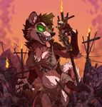 4_fingers anthro antlers black_lips breasts brown_hair canine cervine clothed clothing deer detailed_background dog duo female female_predator green_eyes hair hooves horn imminent_vore mammal midriff navel open_mouth size_difference smile teeth tirrel tirrel_(character) tongue torn_clothing vore