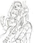 2girls ahoge bass_guitar genderswap genderswap_(mtf) graphite_(medium) headphones highres instrument jacket multiple_girls naitou-kun nitro+_chiral nitroplus ripped_jeans shorts sketch smile super_sonico tank_top tareme thighhighs traditional_media v wristband