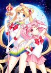 ;) bishoujo_senshi_sailor_moon blonde_hair blue_eyes blue_sailor_collar blush bow bowtie brooch chibi_usa choker commentary_request crescent double_bun earrings full_moon gloves hair_ornament hairclip heart heart_choker highres holding holding_staff jewelry long_hair looking_at_viewer moon multicolored multicolored_clothes multicolored_skirt multiple_girls nardack night night_sky one_eye_closed open_mouth pink_choker pink_eyes pink_hair pink_neckwear pink_sailor_collar sailor_chibi_moon sailor_collar sailor_moon sailor_senshi_uniform skirt sky smile spiral_heart_moon_rod staff star_(sky) starry_sky super_sailor_moon tiara tsukino_usagi twintails v very_long_hair wand white_gloves white_legwear yellow_choker yellow_neckwear