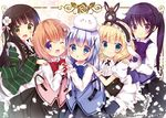 5girls :d ;d ama_usa_an_uniform angora_rabbit animal_ears anko_(gochiusa) apron aqua_eyes bangs black_skirt blonde_hair blue_eyes blue_hair blue_vest bow brown_hair bunny bunny_ears center_frills chestnut_mouth closed_mouth collared_shirt commentary_request crown eyebrows_visible_through_hair fake_animal_ears fleur_de_lapin_uniform floppy_ears flower frilled_apron frilled_hairband frills gochuumon_wa_usagi_desu_ka? green_eyes green_kimono hair_between_eyes hair_bow hair_flower hair_ornament hairclip hand_on_another's_shoulder heart heart_hands heart_hands_duo hoto_cocoa japanese_clothes kafuu_chino kimono kirima_sharo light_brown_hair long_hair long_sleeves looking_at_viewer maid_apron multiple_girls one_eye_closed open_mouth parted_lips pink_bow pink_vest polka_dot puffy_short_sleeves puffy_sleeves purple_eyes purple_hair purple_vest rabbit_house_uniform rikatan shirt short_sleeves skirt smile striped striped_kimono tedeza_rize tippy_(gochiusa) twintails ujimatsu_chiya underbust uniform very_long_hair vest waist_apron waitress white_apron white_flower white_shirt wide_sleeves wrist_cuffs x_hair_ornament