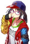 1girl black_hair blue_eyes collarbone colorful glasses hand_in_pocket hand_on_own_cheek hat highres hood hoodie idolmaster idolmaster_shiny_colors lips long_hair looking_at_viewer mitsumine_yuika simple_background solo tank_top twintails upper_body white_background yae_(mono110)