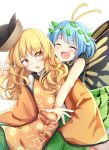 2girls :d :o antennae bare_arms behind_another bending_forward blonde_hair blue_hair blush butterfly_wings chinese_commentary commentary_request constellation_print cowboy_shot eternity_larva eyes_closed green_skirt hat_loss highres imminent_hug leaf leaf_on_head long_hair long_sleeves looking_at_another looking_back matara_okina multiple_girls open_mouth orange_eyes outstretched_arms pleated_skirt short_hair simple_background skirt sleeves_past_fingers sleeves_past_wrists smile tabard touhou white_background wide_sleeves wings yu_cha