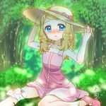 1girl adjusting_headwear blue_eyes blurry blurry_background blush bow dress foot_out_of_frame forest hat hat_bow highres medium_hair nature open_mouth outdoors pink_bow pink_dress pink_footwear pokeball_symbol pokemon pokemon_(anime) pokemon_xy_(anime) serena_(pokemon) shirokoro solo sun_hat tears