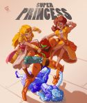 4girls arm_cannon battle blonde_hair blue_eyes boots bracer breasts brown_hair clenched_hand commentary crossover crown dress english_commentary fighting flying_sweatdrops forehead_jewel frozen full_body gloves gun helmet incoming_punch jewelry joakim_sandberg long_dress long_hair mario_(series) metroid multiple_girls necklace nintendo pantyhose pauldrons pearl_necklace pink_dress pointy_ears power_suit princess_daisy princess_peach princess_zelda puffy_short_sleeves puffy_sleeves pumps samus_aran short_sleeves small_breasts smoke smoking_gun super_mario_bros. super_metroid super_smash_bros. the_legend_of_zelda tiara varia_suit weapon white_dress white_gloves white_legwear yellow_dress