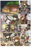 3girls ^_^ black_hair bodysuit bread brown_eyes brown_hair cape chibi coffee_cup coffee_press comic door eating enemy_aircraft_(kantai_collection) eyes_closed fish food fork gloves green_eyes grey_eyes grey_hair hair_ribbon hat highres hisahiko i-class_destroyer kantai_collection kitakami_(kantai_collection) multiple_girls neckerchief ooi_(kantai_collection) open_mouth petting plate pouring pushing ribbon rigging ro-class_destroyer school_uniform serafuku shinkaisei-kan sidelocks sitting smile soup squatting standing standing_on_liquid table tentacle translation_request window wo-class_aircraft_carrier