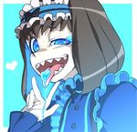 1girl annosada black_hair blue_background blue_eyes blue_hair dress frills garie_tuman hairband heart long_sleeves looking_at_viewer multicolored_hair open_mouth puffy_sleeves senki_zesshou_symphogear sharp_teeth short_hair solo teeth tongue tongue_out two-tone_hair upper_body