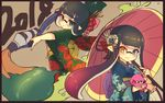 2018 2girls bangs black_hair black_kimono blue_eyes blue_kimono blunt_bangs closed_mouth commentary conomi-c5 domino_mask floral_print flower gradient_hair green_eyes green_hair hair_flower hair_ornament hair_up heterochromia highres holding holding_umbrella holding_weapon inkbrush_(splatoon) inkling japanese_clothes kimono long_hair looking_at_viewer looking_back mask multicolored_hair multiple_girls oriental_umbrella paint_splatter parted_lips pink_hair pointy_ears print_kimono smile splatoon squid standing stuffed_animal stuffed_toy tentacle_hair umbrella weapon wide_sleeves yellow_eyes
