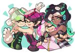 +_+ 4girls aori_(splatoon) bangs black_dress black_hair black_jumpsuit black_shirt black_shorts brown_eyes closed_mouth cousins crop_top cropped_torso detached_collar domino_mask dress earrings fangs food food_on_head green_eyes green_hair green_nails grey_hair grin headphones hime_(splatoon) hotaru_(splatoon) hug hug_from_behind iida_(splatoon) jewelry long_hair looking_at_viewer mask mole mole_under_eye mole_under_mouth multicolored_hair multiple_girls nail_polish object_on_head octarian one_eye_closed open_mouth pink_dress pink_hair pointy_ears purple_hair shirt short_dress short_hair short_jumpsuit shorts sleeveless sleeveless_dress smile splatoon splatoon_1 splatoon_2 standing strapless strapless_dress sushi symbol-shaped_pupils tentacle_hair two-tone_hair waving white_hair wong_ying_chee