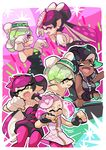 +_+ 4girls :d ;d aori_(splatoon) black_gloves black_hair black_jumpsuit black_shirt black_skirt cousins crop_top crown detached_collar domino_mask dress eyes_closed fangs fingerless_gloves food food_on_head gloves green_hair green_legwear green_nails grey_hair grin headphones hime_(splatoon) hotaru_(splatoon) iida_(splatoon) instrument leaning_forward long_hair looking_at_another mask mole mole_under_eye mole_under_mouth multicolored_hair multiple_girls music nail_polish object_on_head octarian one_eye_closed open_mouth pink_dress pink_hair playing_instrument pointy_ears purple_hair purple_legwear shirt short_hair short_jumpsuit skirt sleeveless sleeveless_dress sleeveless_shirt smile splatoon splatoon_1 splatoon_2 squid_pose standing strapless strapless_dress sushi tentacle_hair two-tone_hair white_gloves white_hair wong_ying_chee