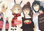 4girls :d alternate_costume bespectacled black_hair blonde_hair box brown_eyes brown_hair commentary_request gift gift_box glasses hair_between_eyes headgear holding holding_gift kantai_collection long_hair multiple_girls musashi_(kantai_collection) mutsu_(kantai_collection) nagato_(kantai_collection) one_eye_closed open_mouth plaid plaid_scarf ponytail red-framed_eyewear red_eyes red_scarf scarf short_hair smile tonari_no_kai_keruberosu tongue tongue_out valentine white_scarf yamato_(kantai_collection)