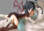 2girls aqua_dress aqua_hair arched_back asymmetrical_wings bed black_dress black_footwear black_hair blush dress girl_on_top heterochromia houjuu_nue imminent_kiss lying multiple_girls on_back pillow resized shoes sweat tatara_kogasa thighhighs tikano touhou wavy_mouth wings wrist_grab yuri zettai_ryouiki
