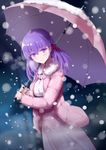 1girl blush crying crying_with_eyes_open dress dutch_angle fate/stay_night fate_(series) fur_trim hair_ribbon holding holding_umbrella long_hair matou_sakura pink_umbrella purple_hair red_ribbon ribbon saitou_(taka_saitwu) smile snow snowing solo standing tears umbrella white_dress winter_clothes