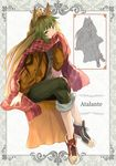 1girl animal_ears atalanta_(fate) blonde_hair character_name fate/apocrypha fate_(series) fox_ears green_eyes green_hair green_pants invisible_chair legs_crossed long_hair multicolored_hair open_mouth pants red_scarf scarf sitting solo two-tone_hair very_long_hair yatsuka_(846)
