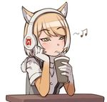 1girl bangs beamed_quavers blonde_hair blush character_request cup drinking drinking_straw elbow_gloves expressionless eyebrows_visible_through_hair fur_collar gloves gradient_hair green_eyes grey_vest hand_on_own_cheek headphones holding holding_cup kemono_friends kugi_ta_hori_taira multicolored_hair musical_note open_clothes open_vest shirt short_hair short_sleeves simple_background solo swept_bangs table tsurime upper_body vest white_background white_hair white_shirt