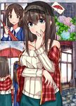 2girls bare_shoulders black_hair bow brown_eyes brown_hair comic hair_bow heart highres hydrangea idolmaster idolmaster_cinderella_girls long_hair multiple_girls norazura outdoors plaid plaid_scarf rain ribbed_sweater sagisawa_fumika scarf shared_umbrella silent_comic speech_bubble surprised tachibana_arisu umbrella